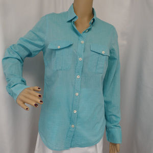 GREEN AQUA BUTTON UP CAREER CASUAL BLOUSE SHIRT S